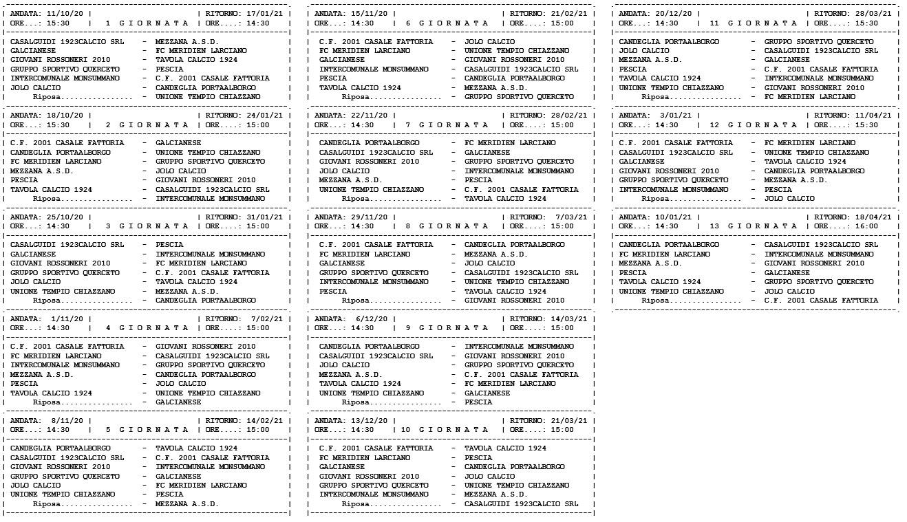 Prima Categoria girone B, ecco il calendario