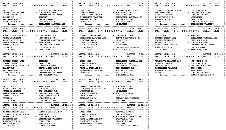 Prima Categoria girone C, ecco il calendario
