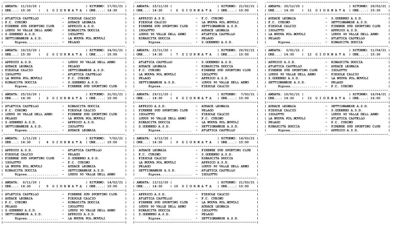 Prima Categoria girone E, ecco il calendario