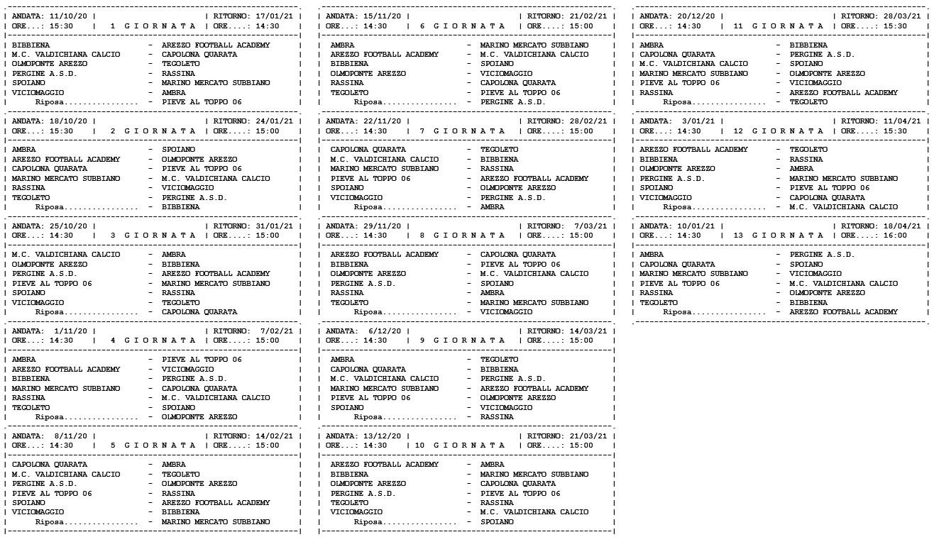 Prima Categoria girone F, ecco il calendario