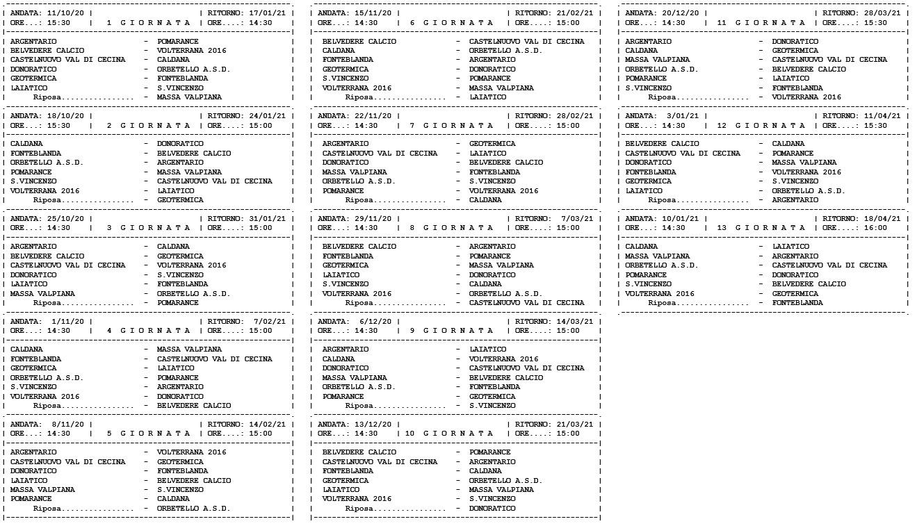 Prima Categoria girone G, ecco il calendario